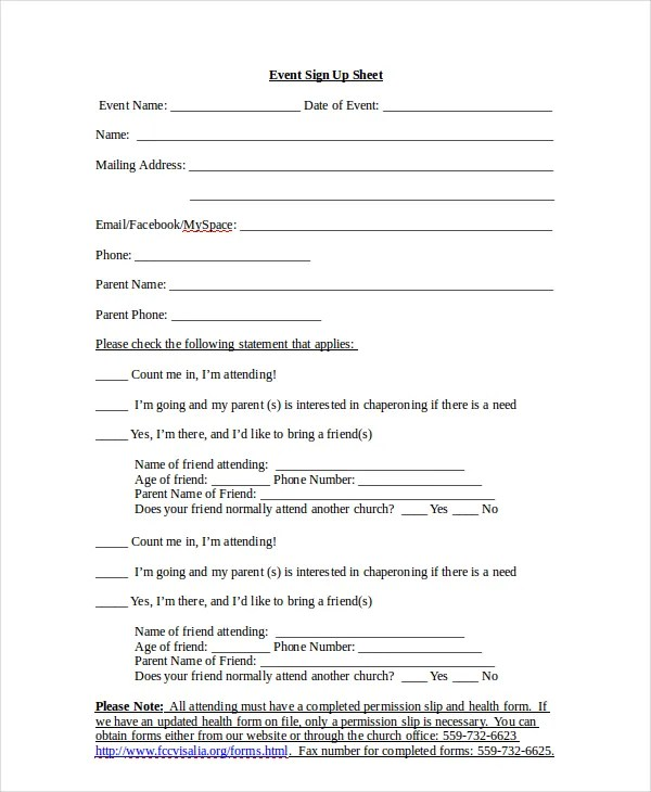 Sign Up Templates 10 sign up sheet templates free sample example – Sample Event Sign in Sheet Template