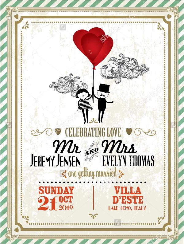 Baroque Vine Wedding Invitations Vector