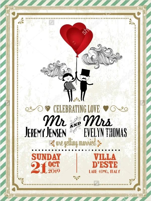 Vector Vine Wedding Invitation Card Template