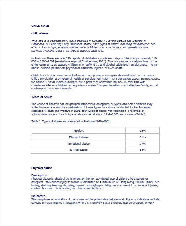 counseling case study report format