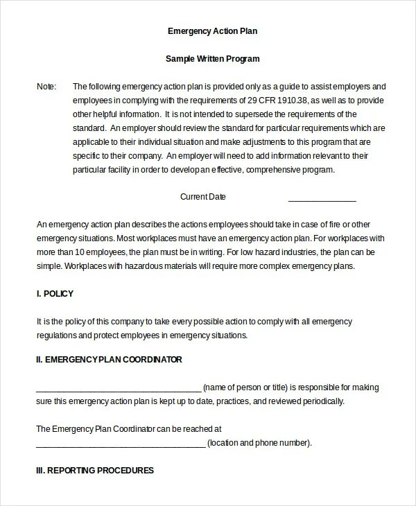 Emergency Action Plan Template 10 Free Sample Example