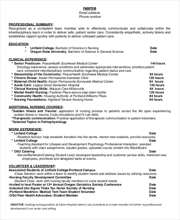 Nursing Graduate Resume - Resume Sample