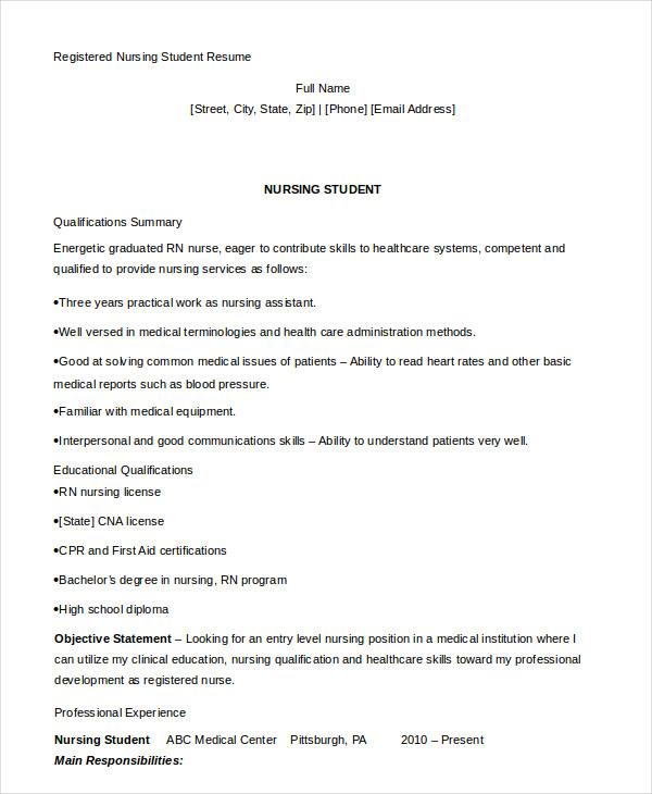 nursing student resume example
