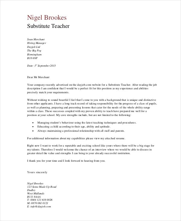 Great Cover Letter For Experienced Teachers 64 With