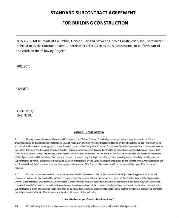 Contractor Subcontractor Contracts