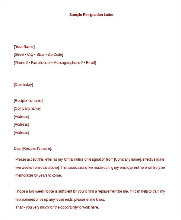 Formal Resignation Letter 10 Free Word PDF Documents Download Free Premium Templates