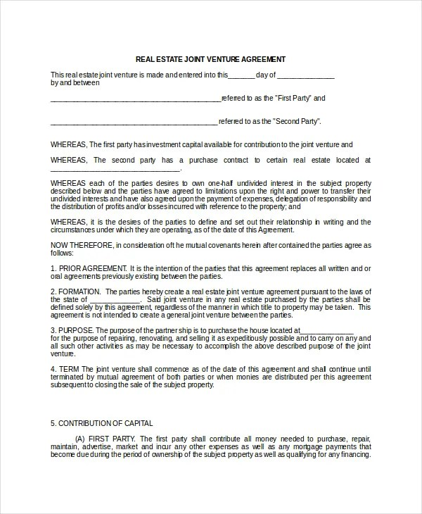 Joint Venture Template sample joint venture agreement 10 – Simple Joint Venture Agreement Sample