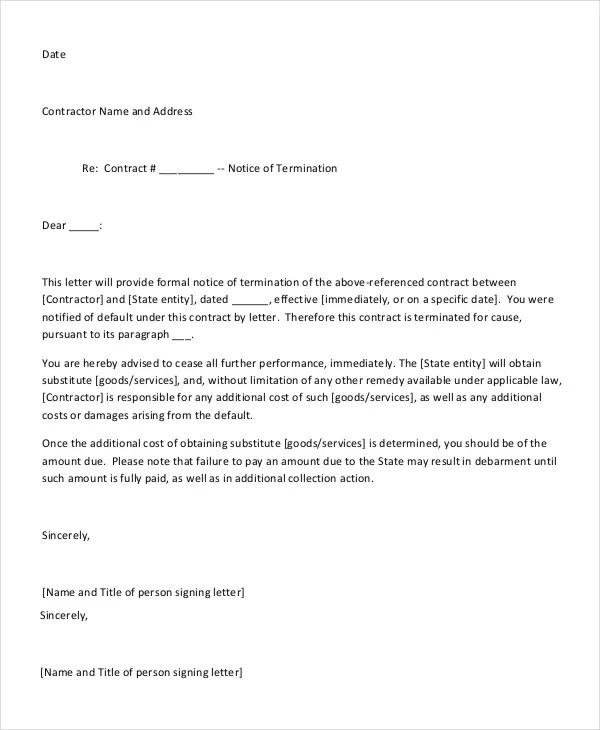 Employee End Of Contract Notice Letter Sample  Docoments Ojazlink