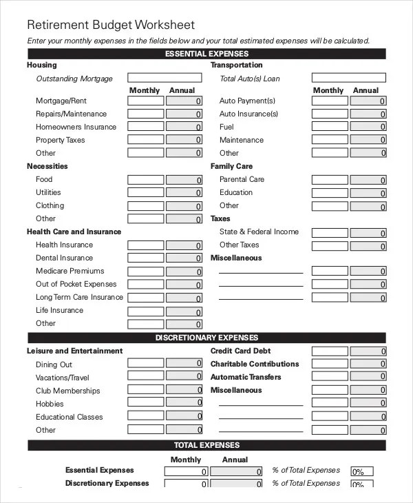 17 Simple Monthly Budget Worksheets