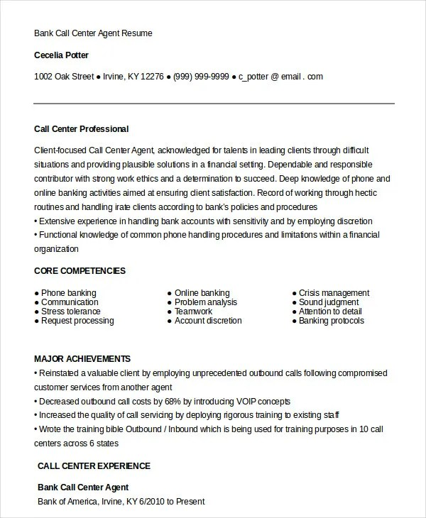 Call Center Resume   Resume Sample  Call Center Job Description Resume