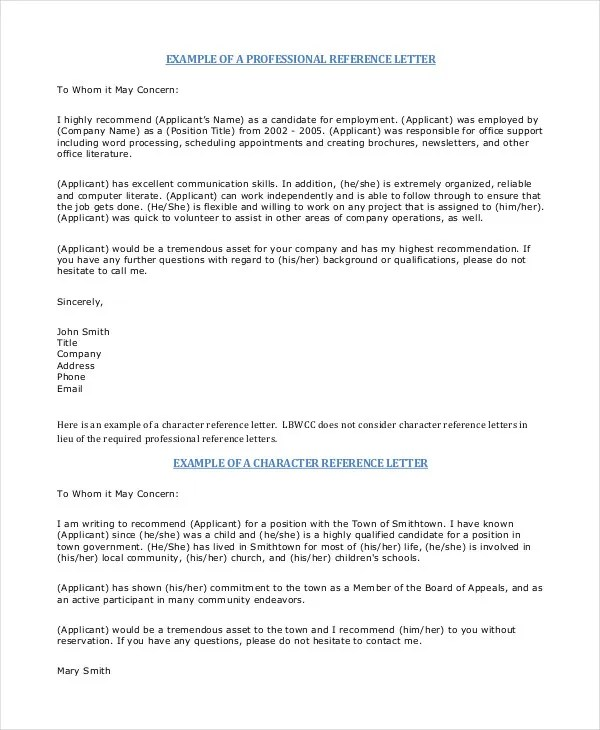 Professional Reference Letter 12 Free Sample Example