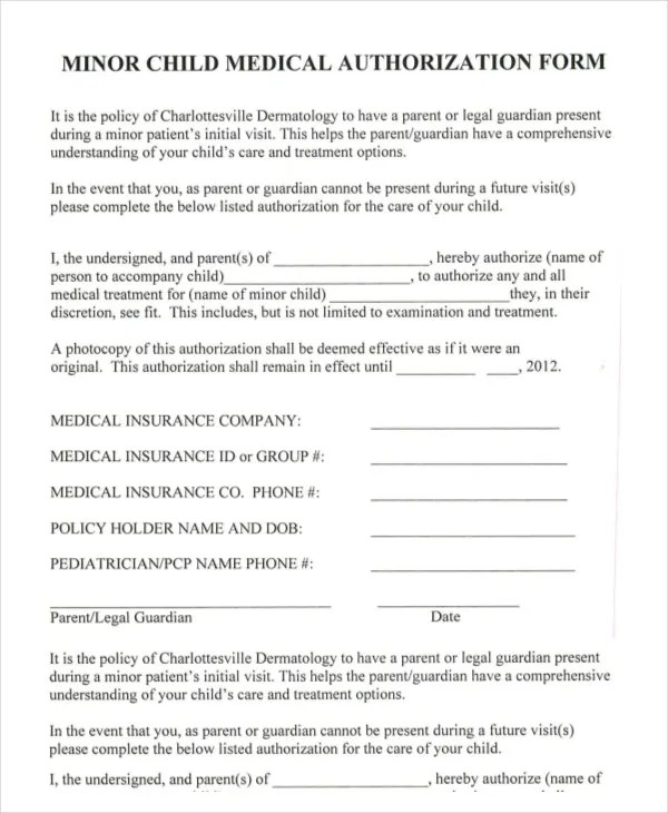 medical consent form for minor