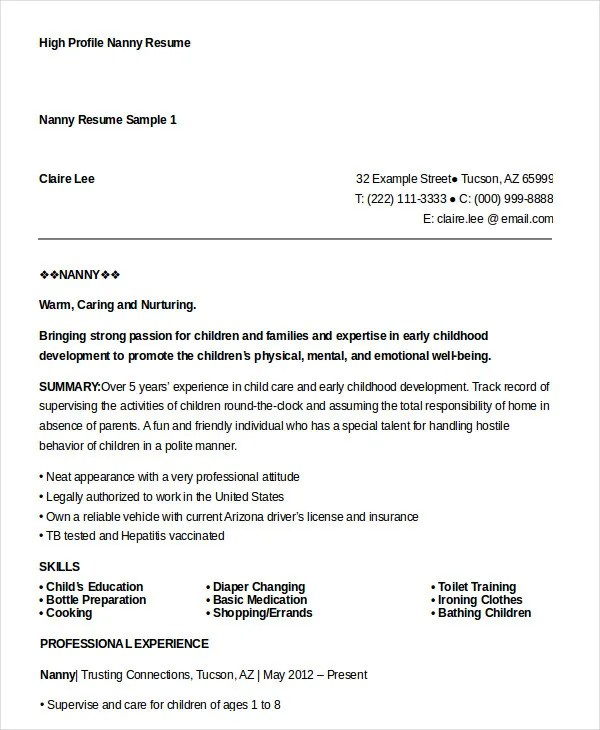 Nanny Resume Example. Business Strategy Ideas Dliring Hol Just
