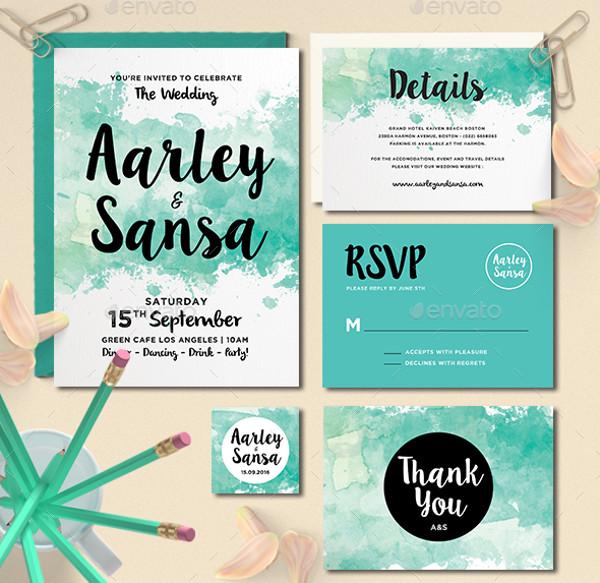 Whimsical Watercolour Wedding Invitation Set