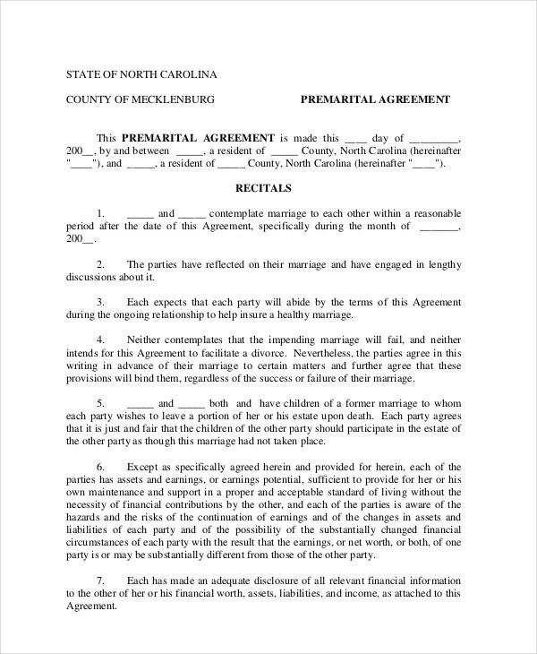 7 Prenuptial Agreement Samples Free Word Pdf Format