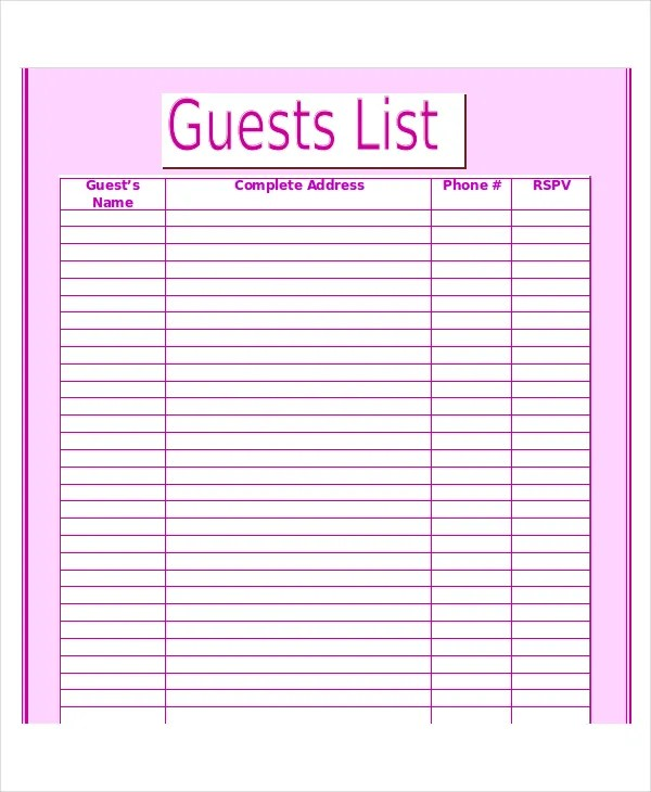 excel template contact list