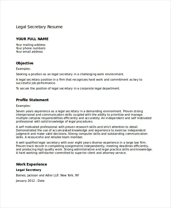 Legal Secretary Resume Templates. Legal Secretary Resume Legal