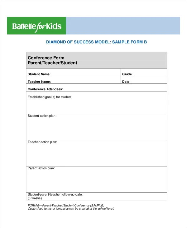 It is a photo of Printable Parent Teacher Conference Forms pertaining to 6th grade