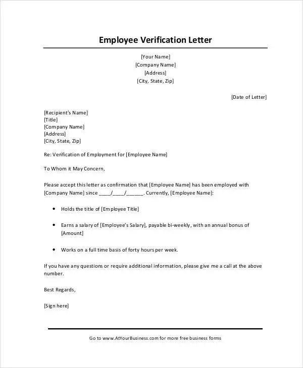 Income Verification Letter From Employer | Docoments Ojazlink