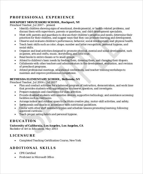Resume For Montessori Teacher