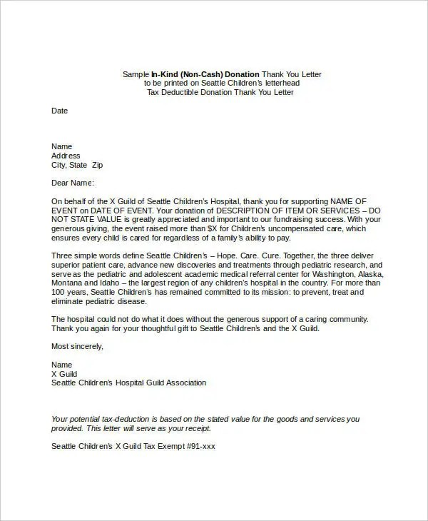 Sample Donor Thank You Letter | Docoments Ojazlink