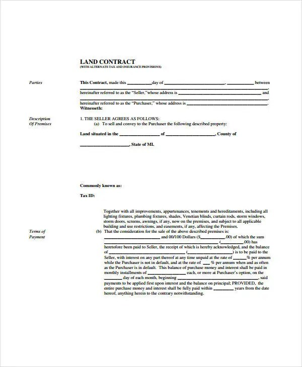8 Land Contract Forms Free Sample Example Format Free