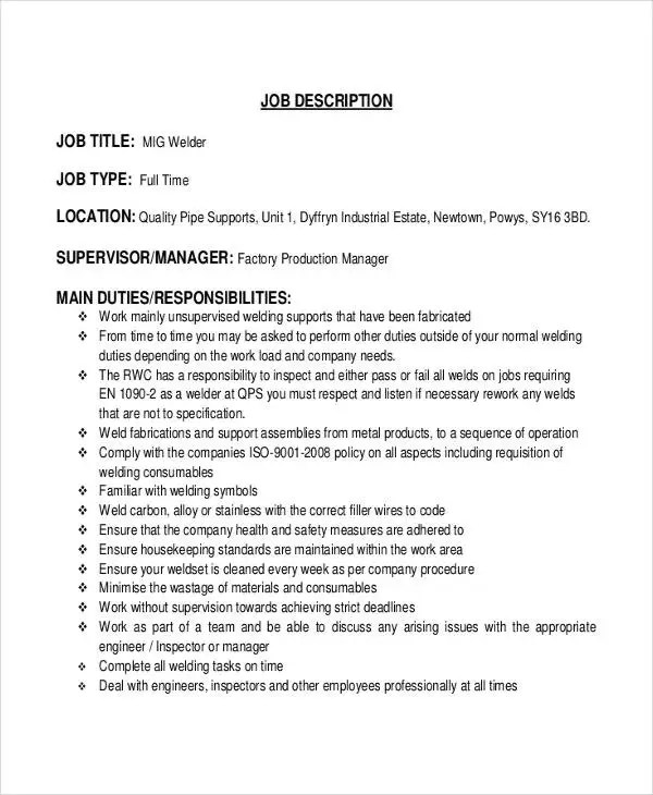 Welder Job Description 10 Free Word Pdf Documents
