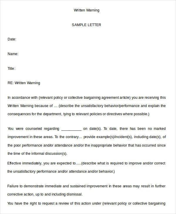 17 Printable Written Warning Templates