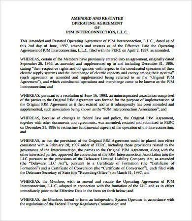 Sample Operating Agreement 12 Free Pdf Google Docs Apple