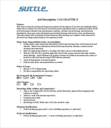 Drafter Job Descriptions 9 Free Word Excel Pdf Format