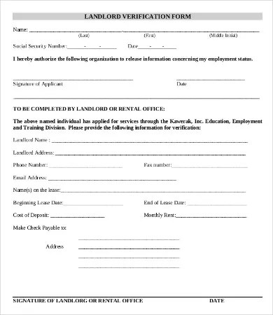 Verification Of Employment Form Template  Free Download