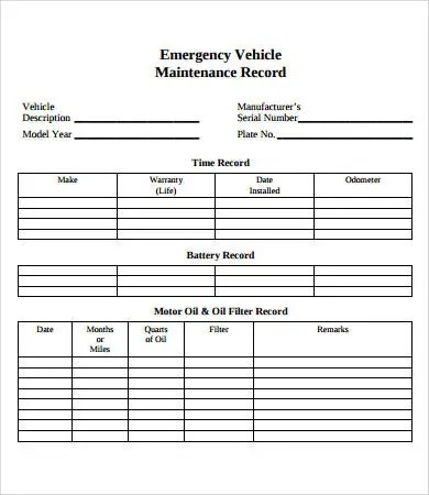 Vehicle Maintenance Log 7 Free Pdf Excel Documents