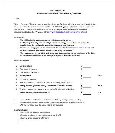 Sample Business Meeting Agenda  Free Download