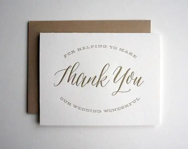 Letterpress Wedding Thank You Card