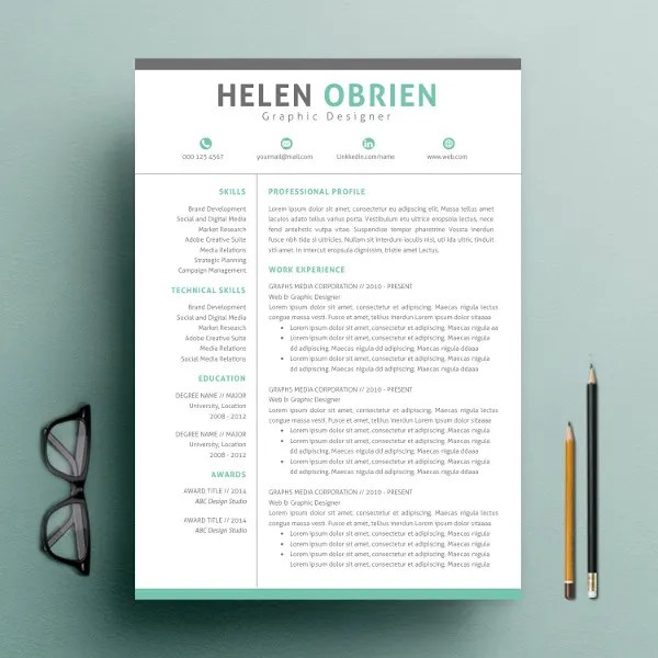 One Page Professional Resume Template - Resume Sample