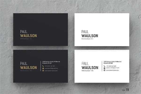 Printable Business Card Templates   9  Free PSD  Vector AI  EPS     Printable Clean Business Card