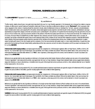Personal Loan Agreement Template - 13+ Free Word, PDF ...