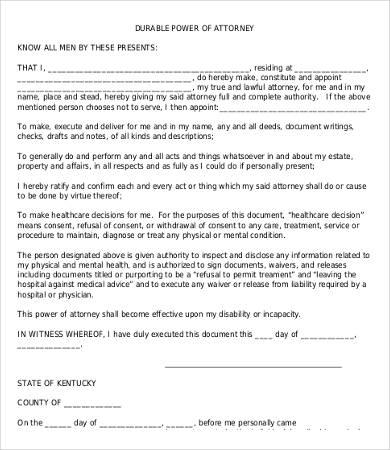 Power Of Attorney Form Free Printable 9 Free Word Pdf