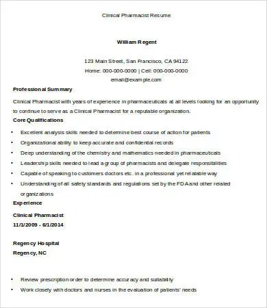 Captivating Pharmacist Resume 9 Free Word Pdf Doents  Clinical Pharmacist Resume