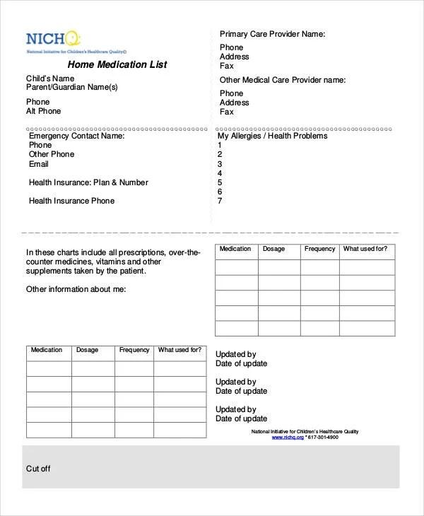 Printable Medication List 8 Free PDF Documents Download Free Premium Templates