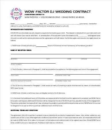 Dj Contract 21 Word Pdf Google Docs Apple Pages