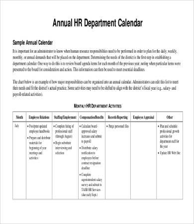 Annual Calendar Template 9 Free PDF Documents Download Free Amp Premium Templates