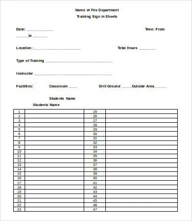 Training Sign In Sheet Template 16 Free Word Pdf