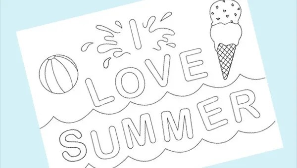 9 Cool Summer Coloring Pages Pdf Png Free Premium Templates