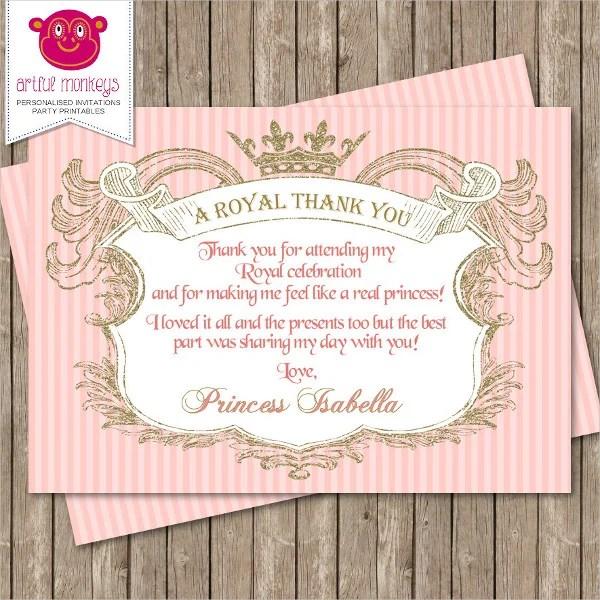 Printable Princess Thank You Card