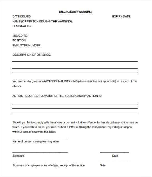 Warning Letter To Employee | Docoments OjazlinkEmployee Warning ...