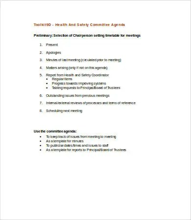Committee Agenda Template 9 Free Word PDF Documents Download Free Amp Premium Templates
