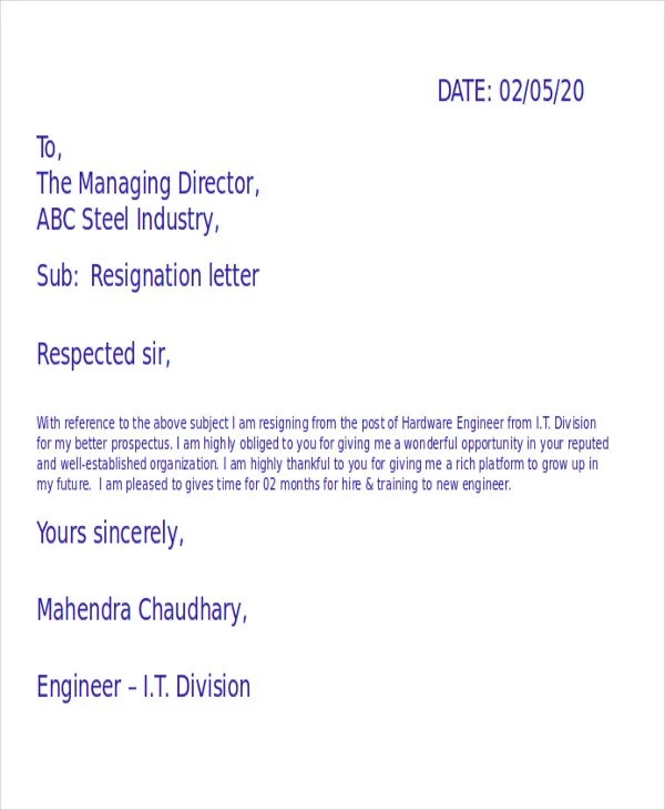 42 Resignation Letter Template In Doc Free Amp Premium Templates