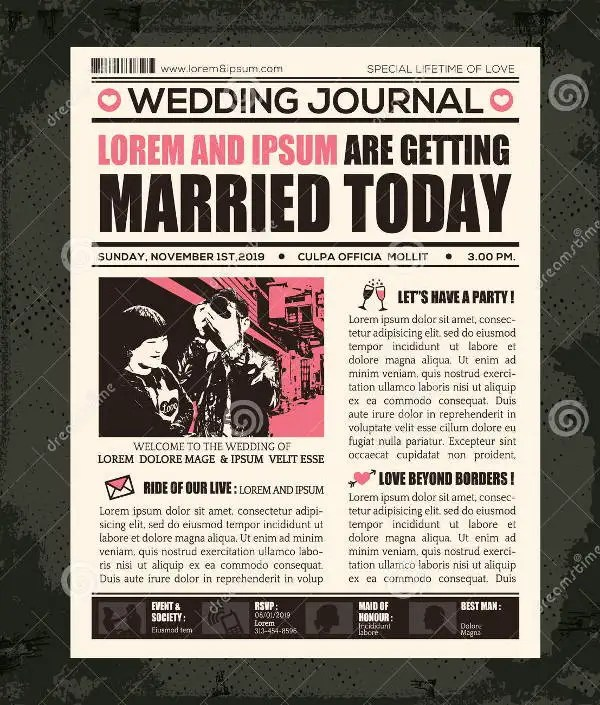 Wedding Newspaper Templates   7  Word  PDF  PSD  Indesign Format     Wedding Announcement Newspaper Template