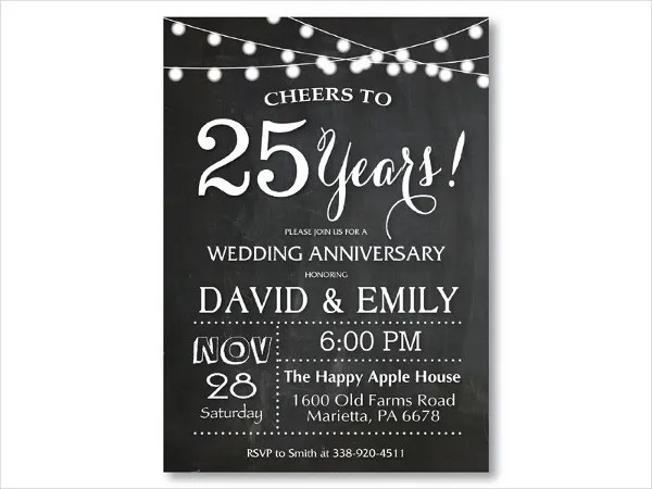 25th Anniversary Invitation Card